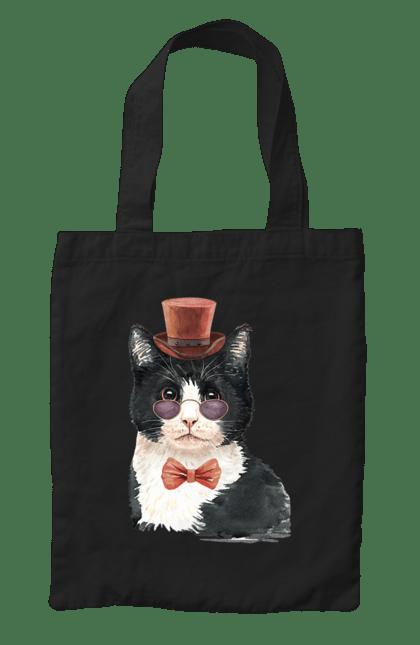 Сумка з принтом Чорно-білий кіт в окулярах. Бант, капелюх, кіт, котик, окуляри. CustomPrint.market