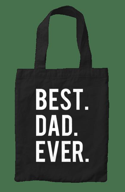 Сумка з принтом кращий тато. Батько, дочка, кращий, син. BlackLine