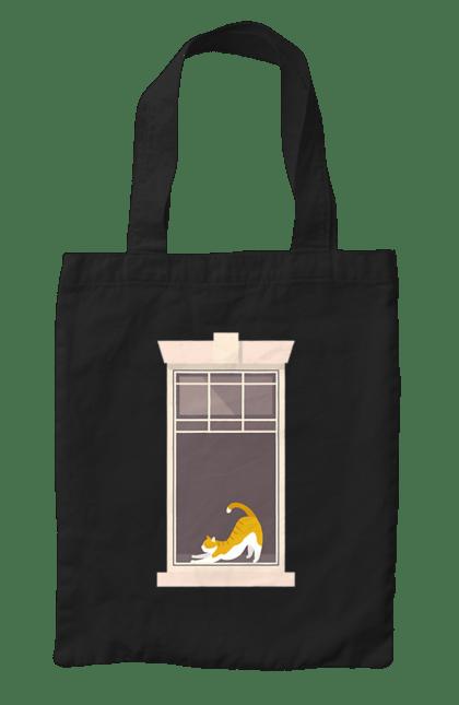 Сумка з принтом Кіт В Вікні. Вікно, кіт, потягушки, рудий. CustomPrint.market