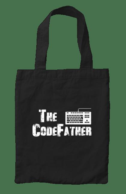 Сумка з принтом Батько Коду, Клавіатура, Білий. День програміста, клавіатура, код, програміст. BlackLine