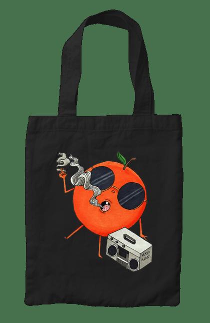 Сумка з принтом Апельсин Курить І Слухає Музику. Апельсин, курить, музика, цитрус. CustomPrint.market