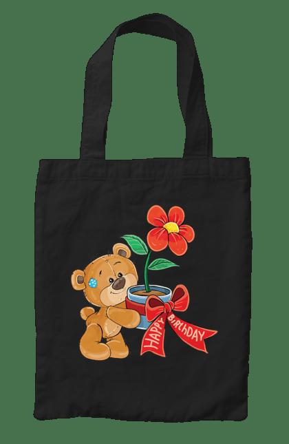 Сумка з принтом Ведмедик з квіткою, з днем народження. Ведмідь, день народження, квітка, медвеженок. CustomPrint.market