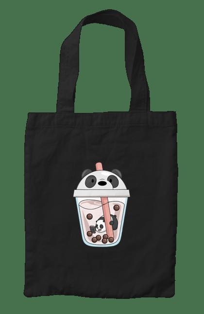 Сумка з принтом Панда Коктейль. Бульбашки, коктейль, панда, соломинка. CustomPrint.market