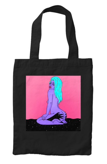Сумка з принтом Фіолетова Дівчина В Руках. 18+, дівчина, інопланетянка, сидить. CustomPrint.market