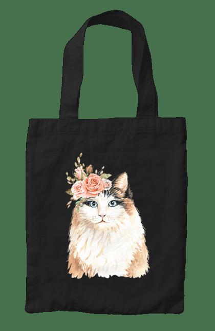 Сумка з принтом Біло-рудий котик у вінку. Вінок, кіт, котик, троянди. CustomPrint.market