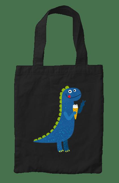Сумка з принтом Веселий Динозаврик З Морозивом. Динозаврик, морозиво. CustomPrint.market