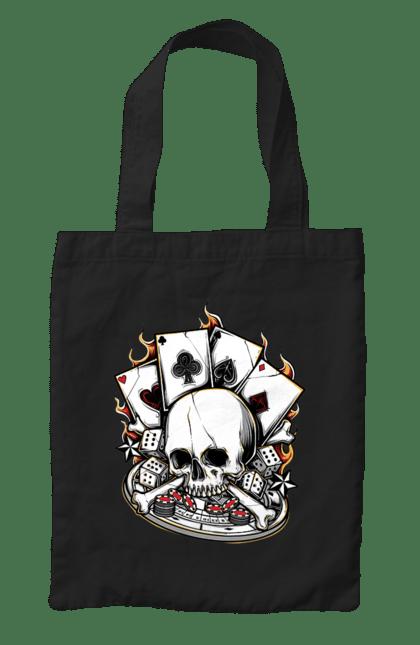 Сумка з принтом Вогняний казино. Казино, карти, покер, скелет, череп. CustomPrint.market