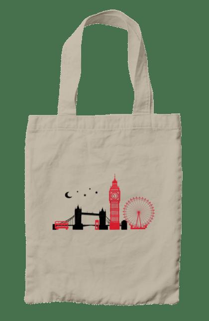Сумка з принтом Чорно Червоний Лондон. Колесо, лондон, міст, місто. BlackLine