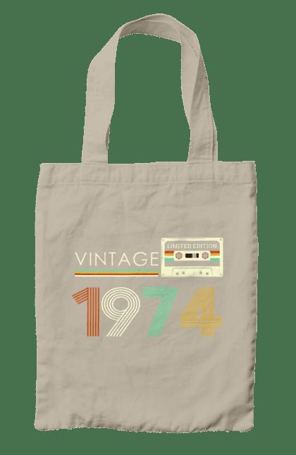 Сумка з принтом Вінтаж 1974. 1974, 70е, вінтаж, касета, ретро. CustomPrint.market
