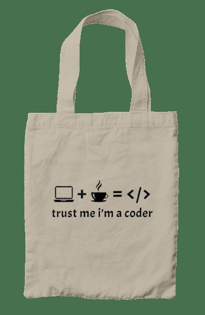 Сумка з принтом Повір Мені, Я Кодувальник, Чорний. День програміста, код, программсіт. BlackLine
