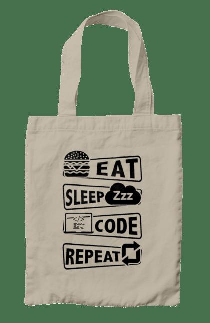 Сумка з принтом Їжа, Сон, Код, Повторити, Програміст Чорний. День програміста, їжа, код, програміст, сон. BlackLine