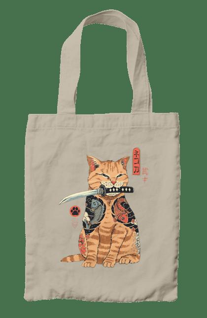 Сумка з принтом Кот Самурай. Кіт, ніж, самурай, тварина. CustomPrint.market