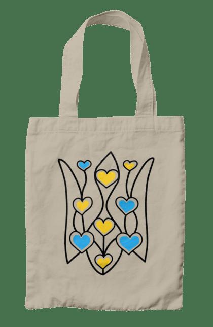 Сумка з принтом тризуб сердечка. Герб, сердечка, україна. CustomPrint.market