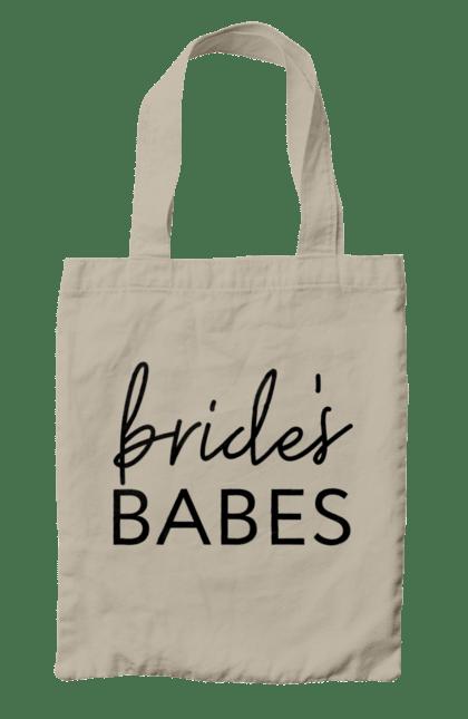 Сумка з принтом Bride Babes Black. Весілля, дівич-вечір, наречена, подружки, пропозиція, запрошення, речення. CustomPrint.market