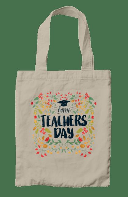Сумка з принтом Щасливий День Учителя, Квіти. День учителя, знання, навчання, учитель. BlackLine