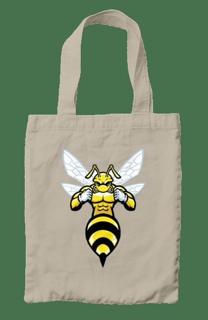 Сумка з принтом Бджола Качок. Бджола, качок, комаха. BlackLine