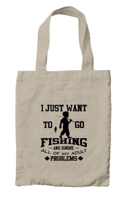 Сумка з принтом День Рибалки Я Просто Йду На Риболовлю. Видпочинок, день, рибалка, риболовля, розваги, рыбаки, рыбалка, спорт, хобби.