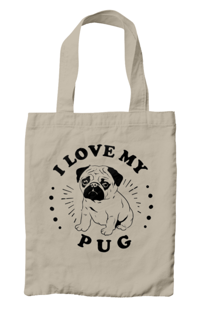 Сумка з принтом улюблений мопсик. Кохання, мопс, собака, тварина. CustomPrint.market