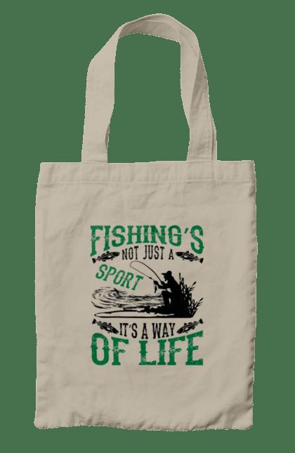 Сумка з принтом День Рибалки Риболовля Це Не Просто Спорт Це Спосіб Жіття. Відпочинок, день, рибалка, рибалки, спорт.