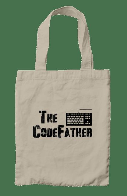 Сумка з принтом Батько Коду, Клавіатура, Чорний. День програміста, клавіатура, код, програміст. BlackLine