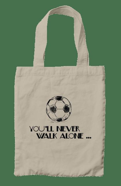 Сумка з принтом Never Walk alone. Футбол. BlackLine