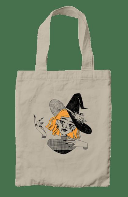 Сумка з принтом Чаклунка. Ведьмочка, відьмочка, волшебница, гарбуз, капелюх, колдунья, осінь, принт, тыква, хелоуин. CustomPrint.market