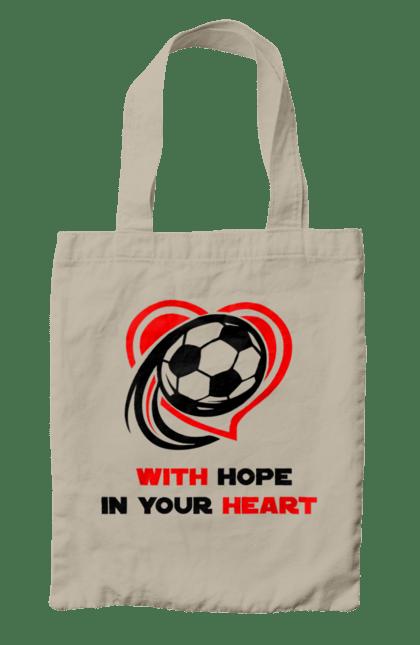 Сумка з принтом Футбол в серці. Футбол. BlackLine