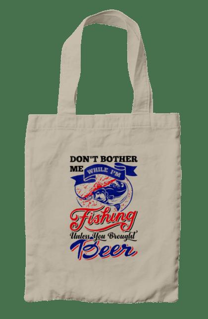 Сумка з принтом День Рибака Не Турбувати Поки Я Ловлю Рибу. Видпочиок, відпочинок, день, пиво, рибалка, рибалки, розваги, рыбаки, рыбалка, спорт.