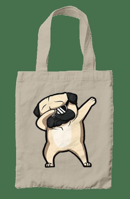 Сумка з принтом Мопс деб. Деб, мопс, окуляри, собака, собачка. CustomPrint.market