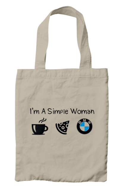 Сумка з принтом Проста жінка, БМВ. Бмв, кава, машини, піца. CustomPrint.market