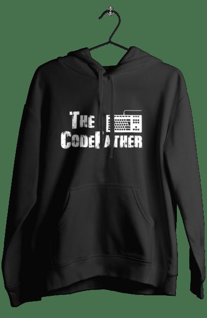 Жіноче худі з принтом Батько Коду, Клавіатура, Білий. День програміста, клавіатура, код, програміст. BlackLine