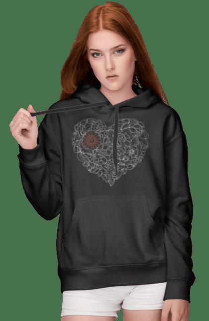 Жіноче худі з принтом Серце Візерункове З Квітів. Візерунок, квітка, серце. BlackLine