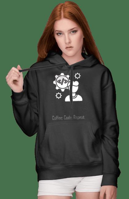 Жіноче худі з принтом Кава, Код, Повторити, Програміст. День програміста, кава, код, програміст. BlackLine