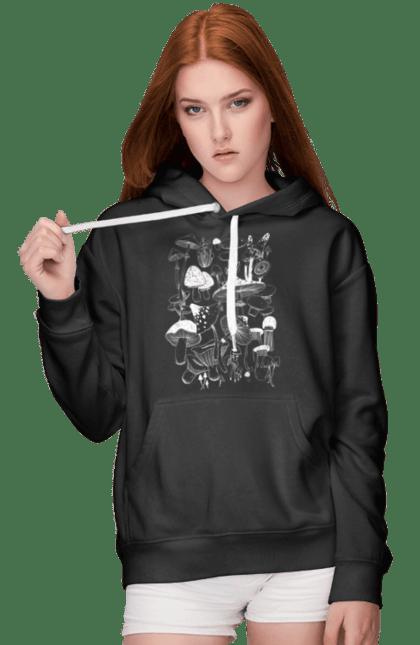 Жіноче худі з принтом Білі Гриби. Гриб, гриби, грибник, мухомор, осінь. CustomPrint.market