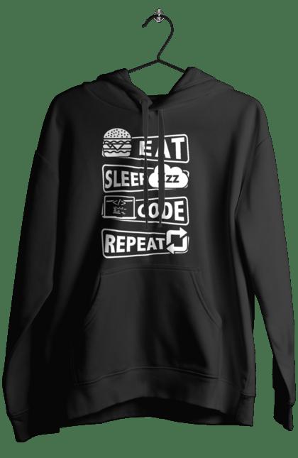 Жіноче худі з принтом Їжа, Сон, Код, Повторити, Програміст Білий. День програміста, їжа, код, програміст, сон. BlackLine