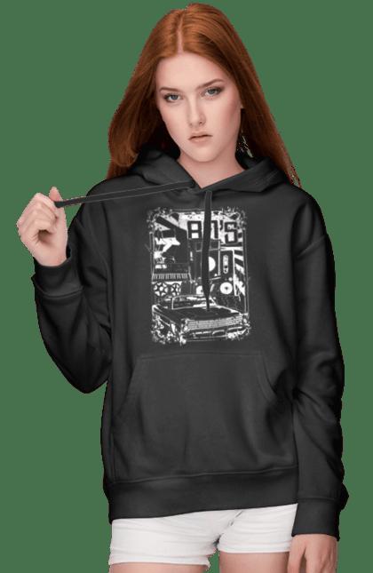 Жіноче худі з принтом 80 Е, Машина І Музика. 80, 80ті, машина, музика. BlackLine