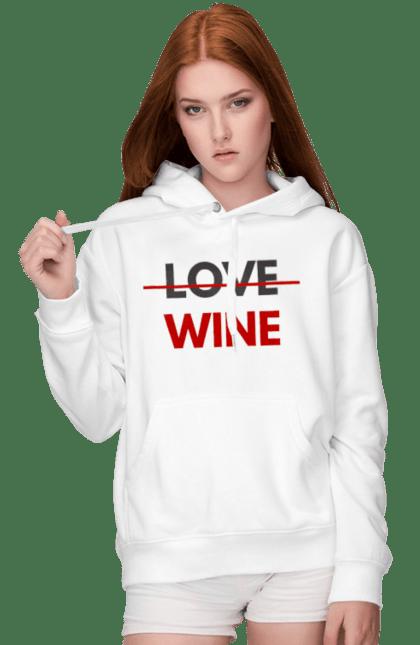 Жіноче худі з принтом Немає Любові Тільки Вино. Алкоголь, вино, любов, цитата, червоний. CustomPrint.market