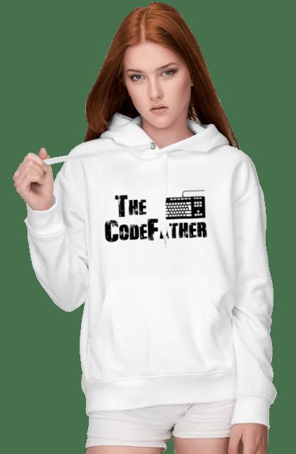 Жіноче худі з принтом Батько Коду, Клавіатура, Чорний. День програміста, клавіатура, код, програміст. BlackLine