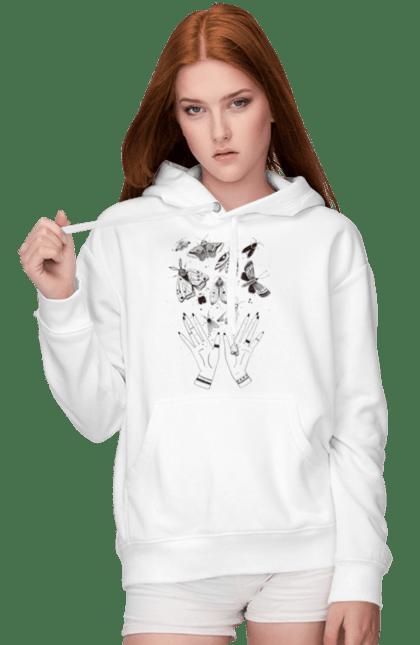 Жіноче худі з принтом Бабочки. Еко, метелики, ніч, руки, чарівництво. CustomPrint.market
