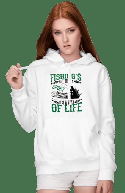 Жіноче худі з принтом День Рибалки Риболовля Це Не Просто Спорт Це Спосіб Жіття CustomPrint.market