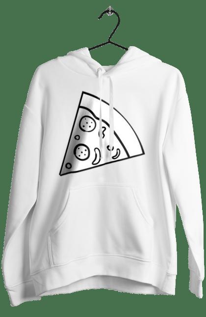 Жіноче худі з принтом Шматочок Піци. Парні, піца, шматок. BlackLine