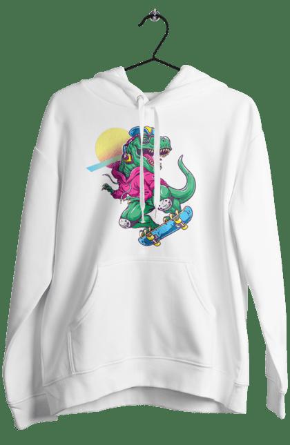 Жіноче худі з принтом Динозавр В Навушниках І На Скейті CustomPrint.market