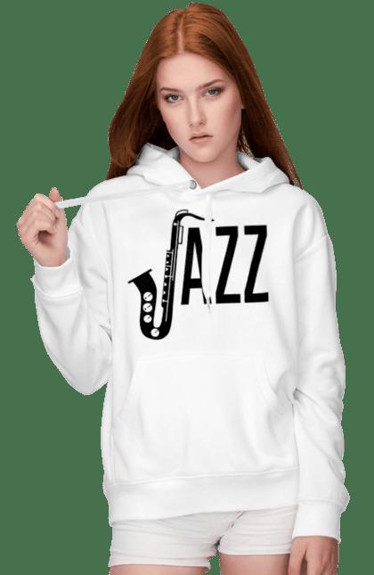 Жіноче худі з принтом Джаз, Чорний. Джаз, музика. BlackLine