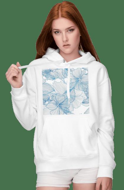 Жіноче худі з принтом Блакитні Візерункові Квіти. Візерунок, квітка. BlackLine