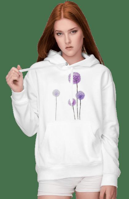 Жіноче худі з принтом Фіолетові Кульбаби. Квітка, кульбаба, кульбаби. BlackLine