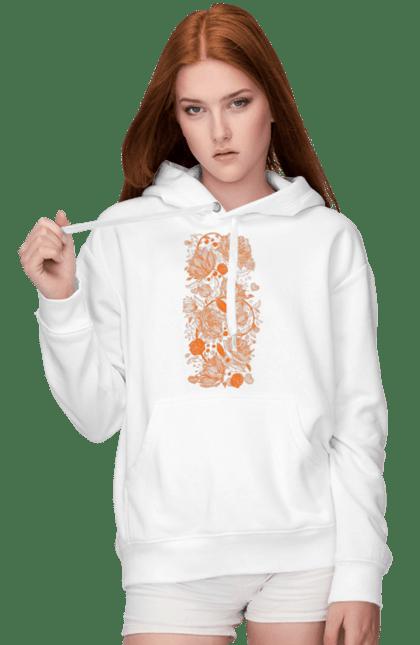 Жіноче худі з принтом Візерункові Помаранчеві Квіти. Візерунок, квітка. BlackLine