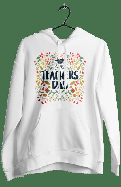 Жіноче худі з принтом Щасливий День Учителя, Квіти. День учителя, знання, навчання, учитель. BlackLine