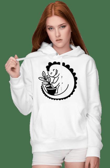 Жіноче худі з принтом Чорний Дракоша З Квіткою CustomPrint.market
