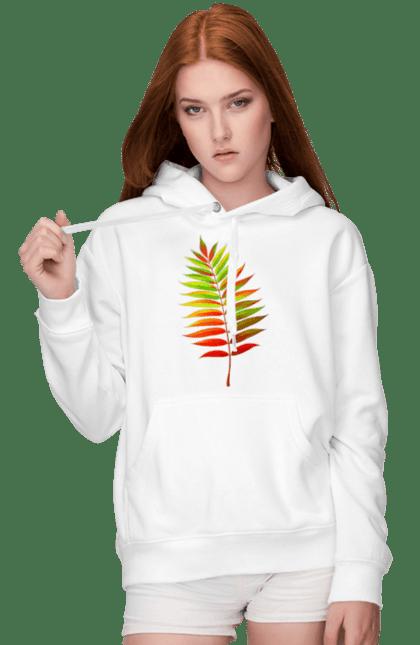Жіноче худі з принтом Осінній Листок. Жовтий листок, листок, осінь. BlackLine