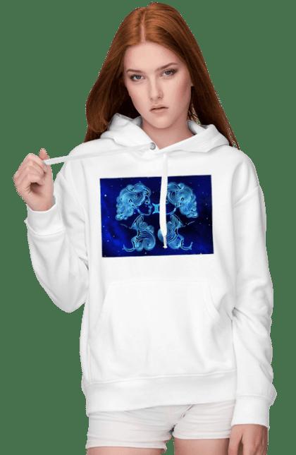 Жіноче худі з принтом Близнюки Знак Зодіаку. Астрологія, астрономія, близнюки, доля, знак зодіаку, знаки зодіаку, зодіак, передбачення, символ, синій, цикл. CustomPrint.market